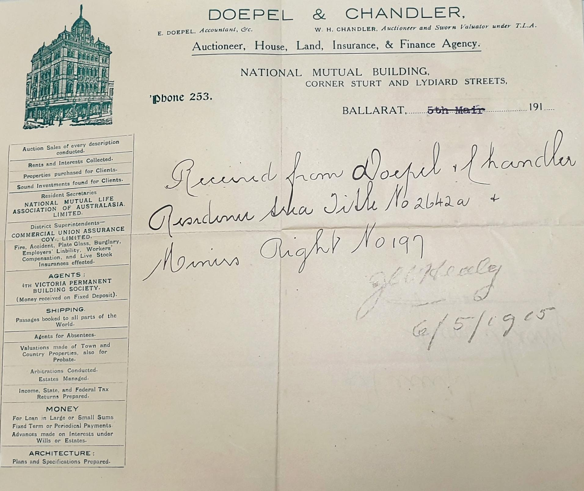 Doepel & Chandler Receipt May 1915